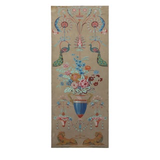 Englaih Traditional Panel Painting of Multicolored Bouquet Accompanied by Peacocks and Lions For Sale