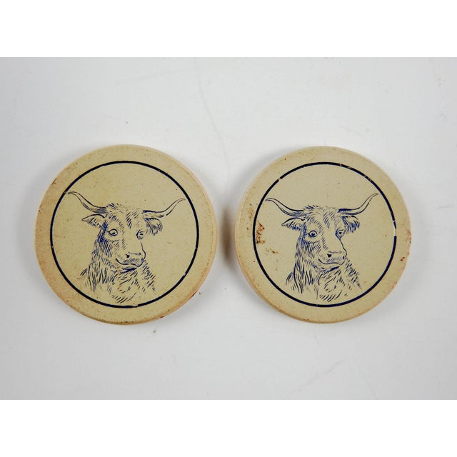 Country Antique Clay Poker Chips Longhorn Steer - Set of 2 For Sale - Image 3 of 4