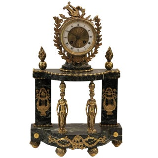 20th Century Neoclassical Verde Green Marble and Gilt Mounted Empire Striking Clock