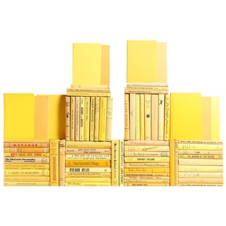 Midcentury Yellow Book Wall - Seventy-Five Yellow Books For Sale