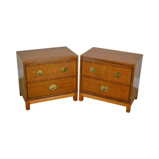 Campaign Style Pair of Yew Wood Bed Side Chest Nightstands by Hickory For Sale