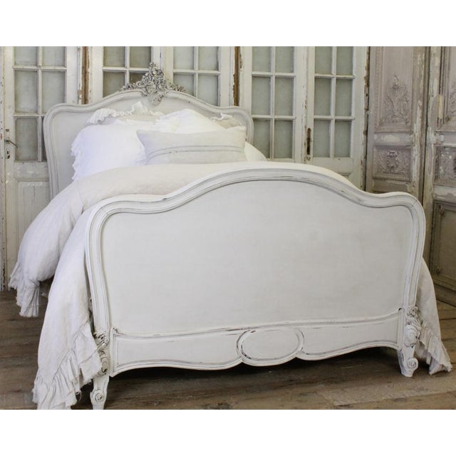 Antique French Louis XV White Walnut Bed - Image 3 of 6