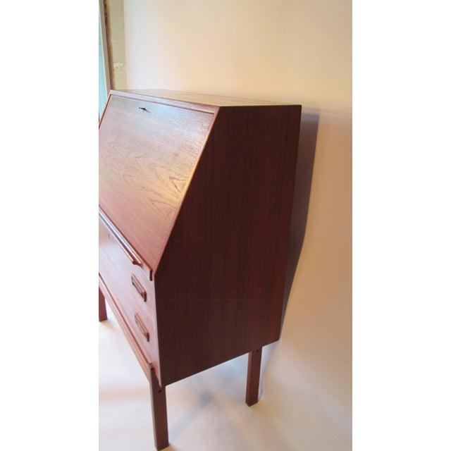 Mid-Century Modern 1960s Danish Modern Drop Front Desk For Sale - Image 3 of 13
