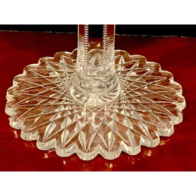 American Brilliant Cut Glass Footed Double, Handled Nappy For Sale - Image 4 of 11