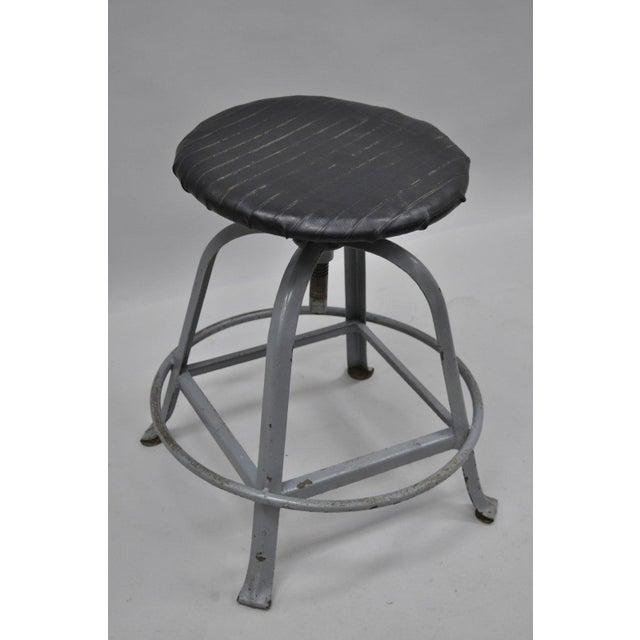 Americana Antique American Industrial Grey Steel Metal Adjustable Work Stool For Sale - Image 3 of 10