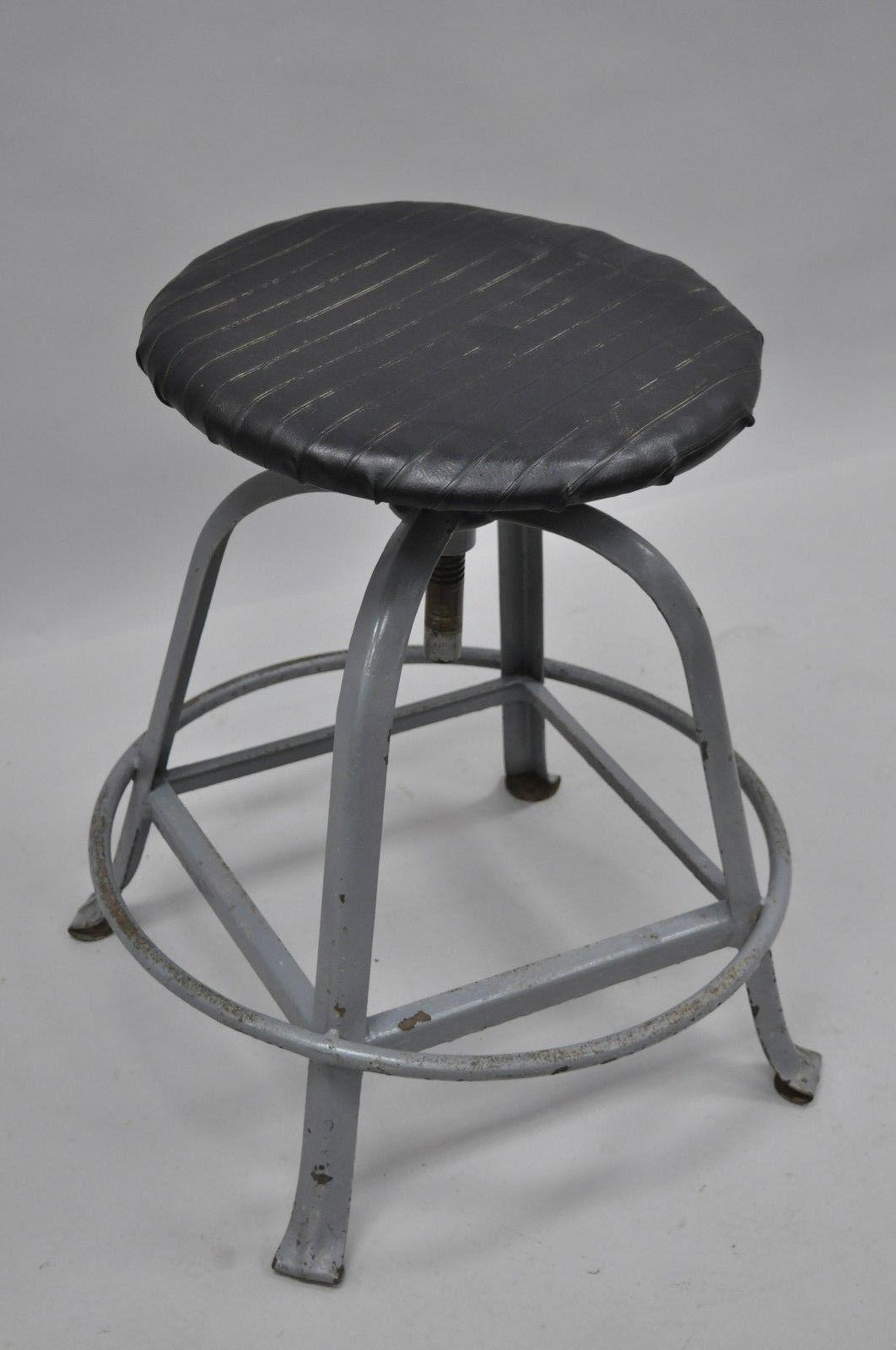 Antique American Industrial Grey Steel Metal Adjustable Work Stool   Image  3 Of 10