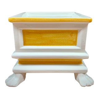 Vintage Italian Majolica Yellow and White Claw-Footed Cachepot Planter For Sale