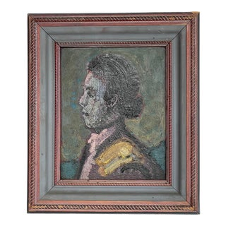 Early 20th Century Profile Portrait Oil Painting, Framed For Sale