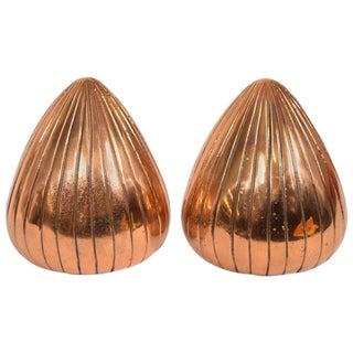 "Ben Seibel ""Clam"" Bookends in Copper Finish — a Pair For Sale"