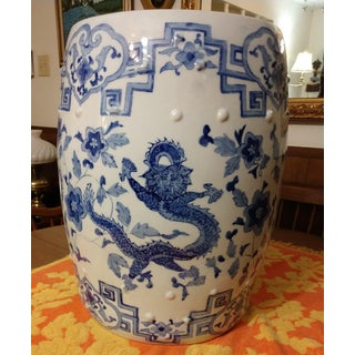 Vintage Blue and White Chinoiserie Porcelain Garden Stool Preview