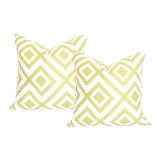 La Fiorentina Light Green & Ivory Pillow Covers - A Pair