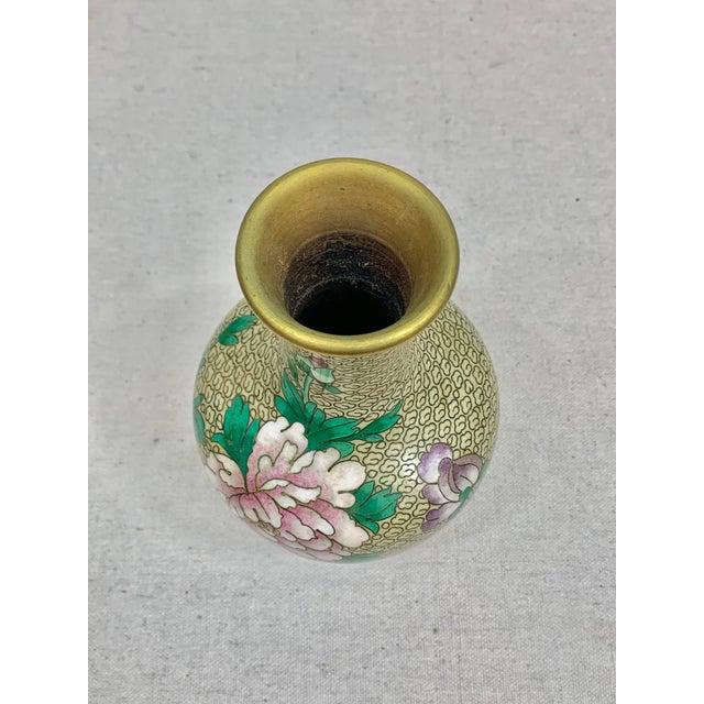 Tan Vintage Floral Cloisonne Vase For Sale - Image 8 of 10