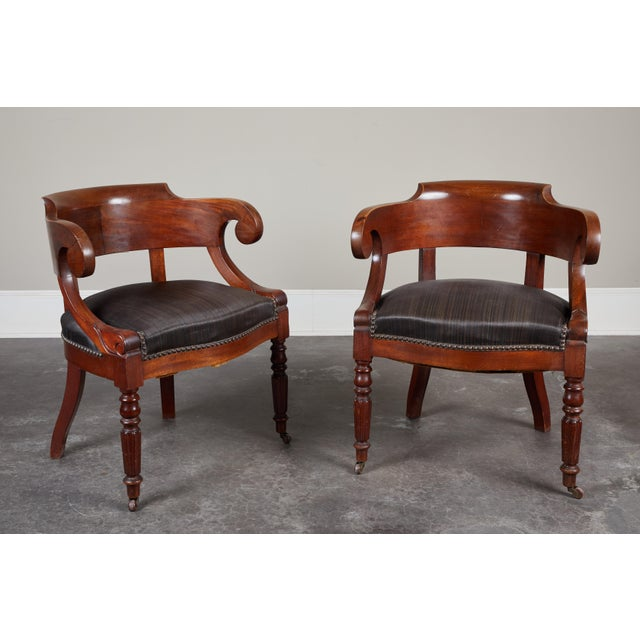 Early 19th Century Pair of 19th C. Swedish Mahogany Armchairs For Sale - Image 5 of 10