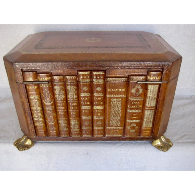 Brown Vintage English Book Leather Box For Sale - Image 8 of 11