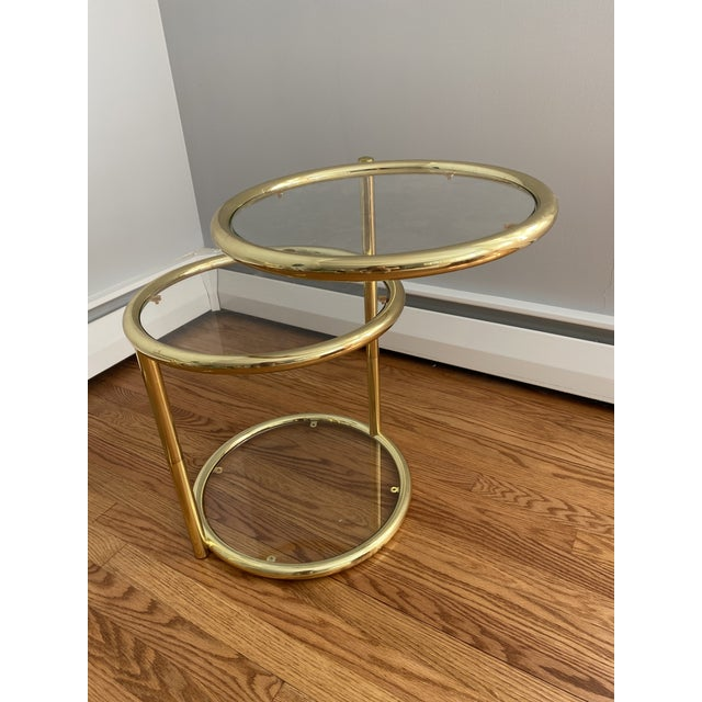 Hollywood Regency Brass and Glass Cocktail Tables - a Pair For Sale - Image 4 of 13