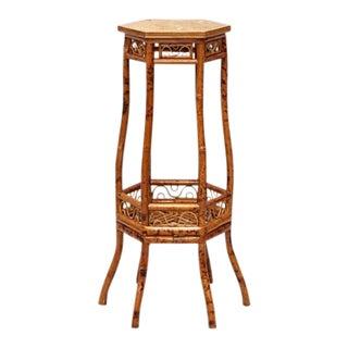 Vintage Hexagonal Rosenthal Netter Designer Bamboo Pedestal End Table