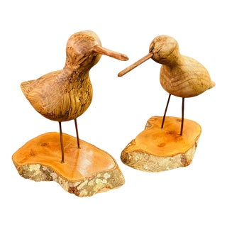 Hand Carved Wood Birds on Wooden Bases - a Pair For Sale