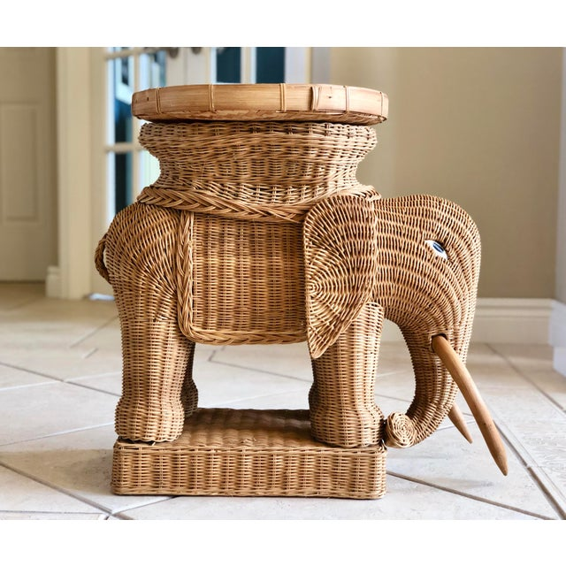 1970s Vintage Boho Chic Wicker Rattan Elephant Side Tray Table For Sale In Detroit - Image 6 of 6