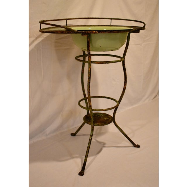 French Wrought Iron Washstand With Enameled Copper Bowl For Sale - Image 3 of 11