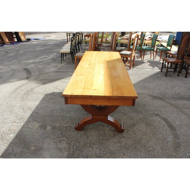 A long and Impressive French Art Deco Solid Sycamore Tulip Base Dining Table. Spectacular Craftsmanship Circa 1940s. WE...