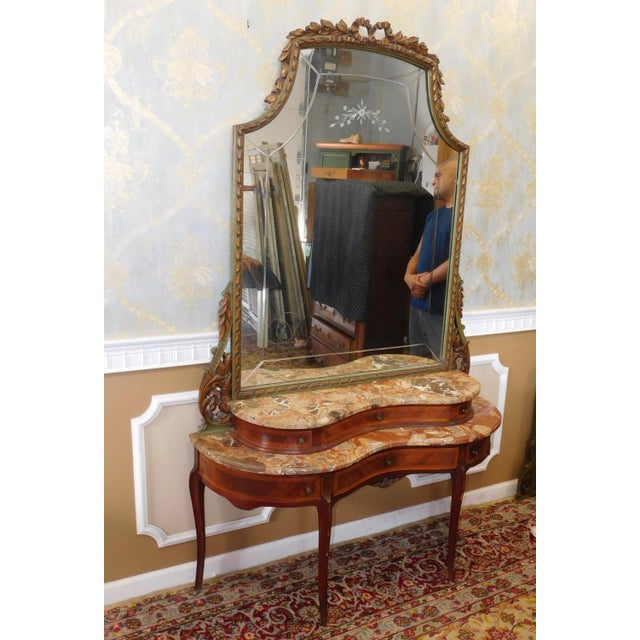 Fine 1920s French inlaid & Banded Mahogany Marble Top Bedroom Dressing Table Vanity w/ Mirror - Image 2 of 11