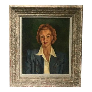 Vintage Oil Portrait of 1940s Lady by Louise Schacht, Framed For Sale