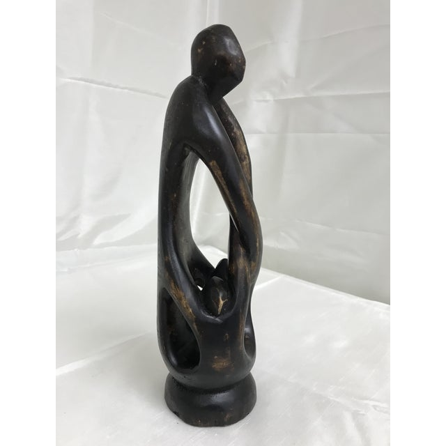 1980s African Hand Crafted Carved Wood Ghana Figurine For Sale - Image 4 of 7