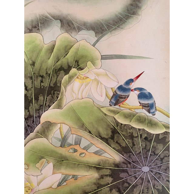 "Contemporary 1970s Vintage ""Two Bluebirds on a Lotus Pad"" Chinese Scroll Painting For Sale - Image 3 of 8"