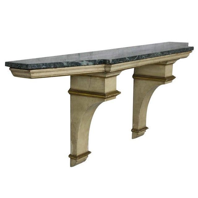 French Painted and Gilt Wall-Mounted Console With Green Marble For Sale - Image 10 of 10