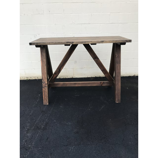 Rustic Rustic Wooden Rectangular Center Table For Sale - Image 3 of 9