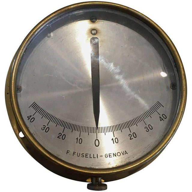 Metal Italian Midcentury Brass Ship's Clinometer For Sale - Image 7 of 7