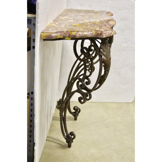 1960s Wrought Iron Wall-Mounted Demilune Table For Sale - Image 5 of 8