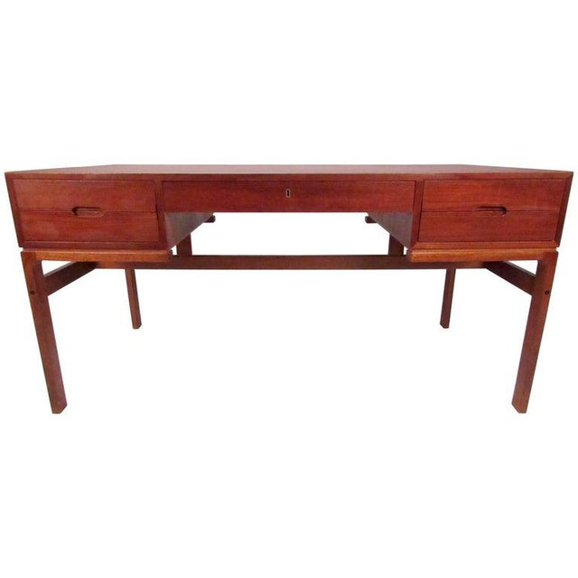 Mid-Century Modern Teak Double-Sided Desk For Sale - Image 11 of 11