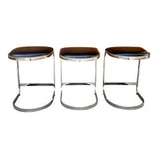 1970's Milo Baughman Cantilever Counter Stools - Set of 3 For Sale