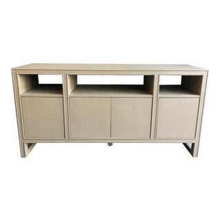 Transitional Linen Wrapped Buffet/Media Server For Sale