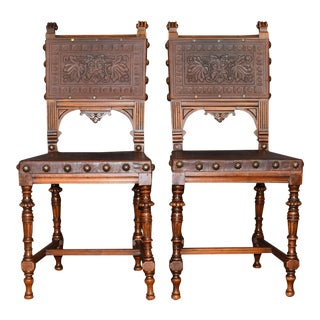 Pair of Vintage Spanish Style Embossed Leather W Clavos Accent Chairs by Gassman For Sale