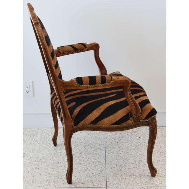 1950s Carved Hardwood & Tiger Cowhide Upholstered Armchair For Sale - Image 9 of 13