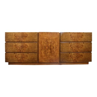 1960s Mid-Century Modern Lane Burled Wood Lowboy For Sale