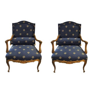 Custom Louis XV Style Arm Chairs- A Pair