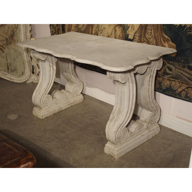 Antique Carved White Marble Console Table from France, 19th Century For Sale - Image 13 of 13