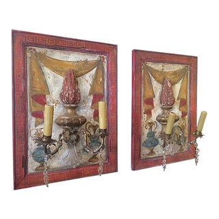 18th Century Italian Painted Fragment Crystal Sconces - A Pair For Sale