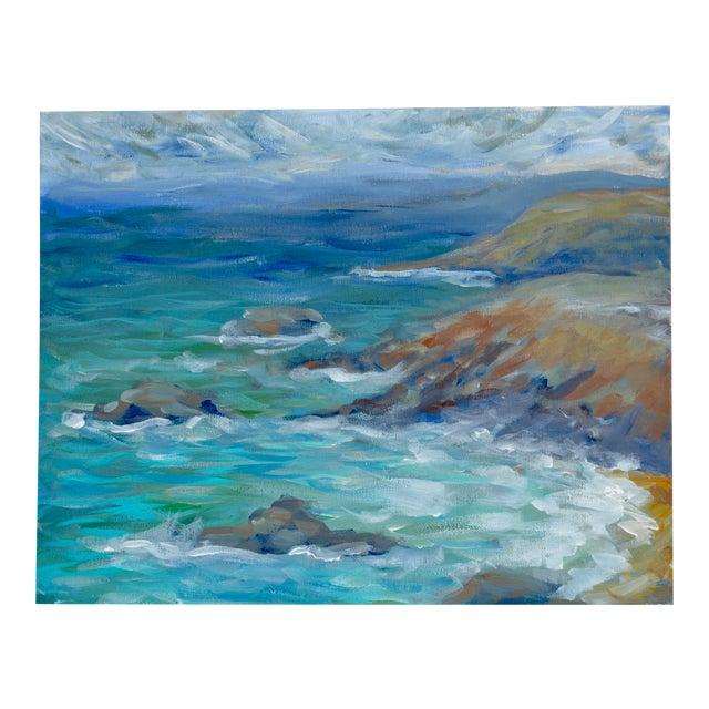 Coastline Impressionist Acrylic Painting For Sale