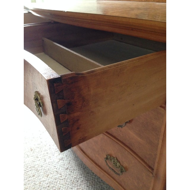 Art Nouveau Birds Eye Maple Dresser Chest with Mirror For Sale - Image 3 of 7