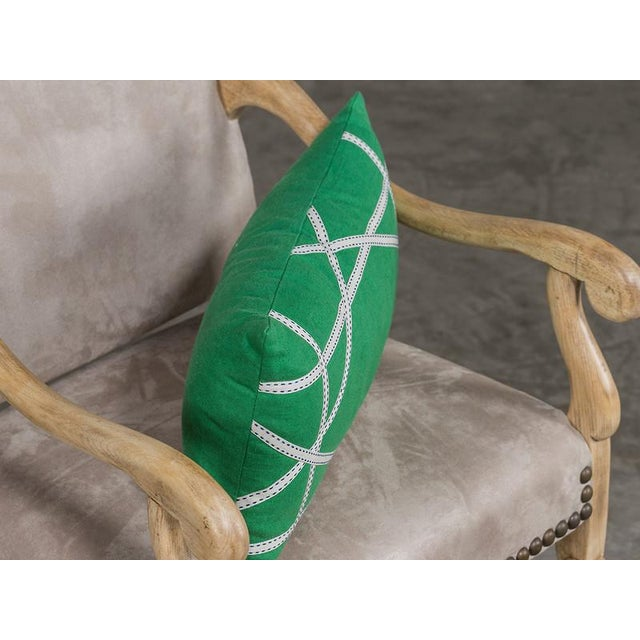 Apple Green Linen Pillow with Lattice Work Made from Ribbon For Sale - Image 4 of 5