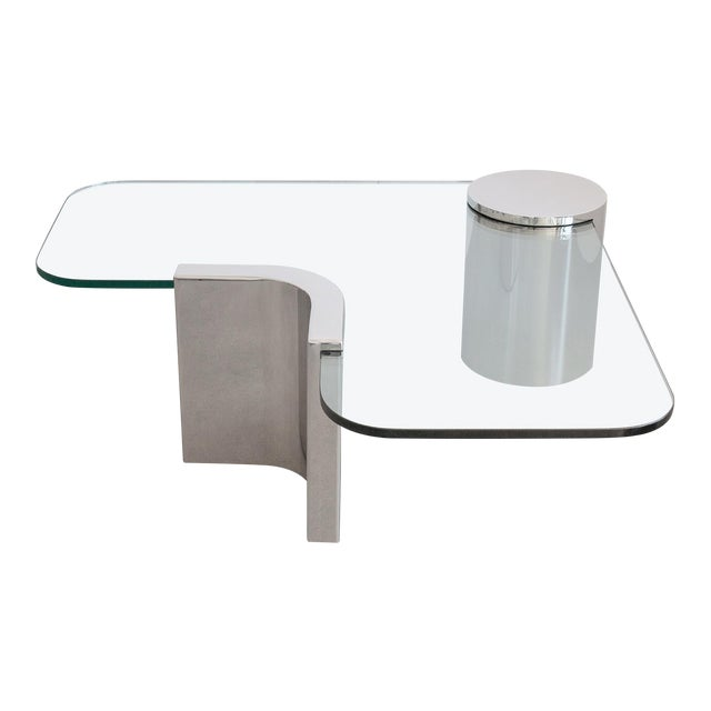 Polished Steel Cantilever Coffee Table - Image 1 of 11