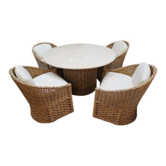 Vintage Boho Chic. Wicker Dining Set With Marble Top - 5 Pieces For Sale