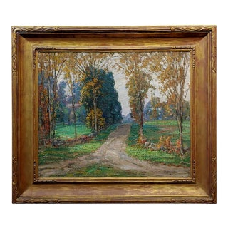 Samuel Harkness McCrea -Road to Stamford,CT - Impressionist Landscape -Oil Painting C.1913 For Sale