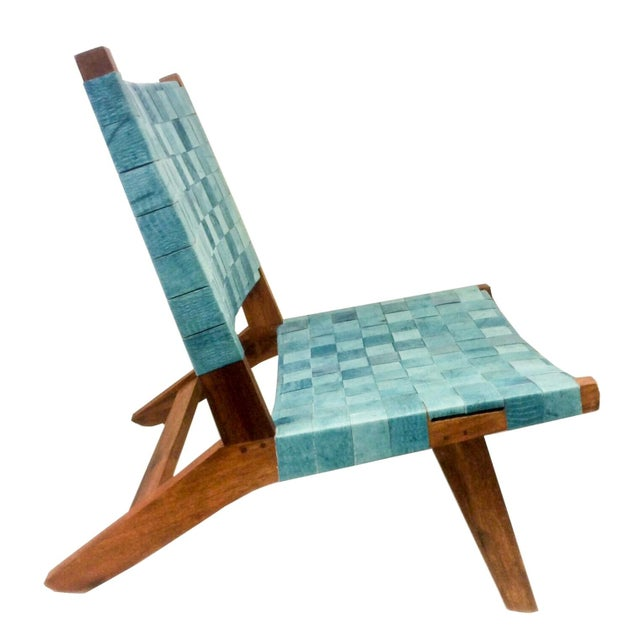 Woven Recylced Leather Lounge Chair Blue - Image 2 of 8