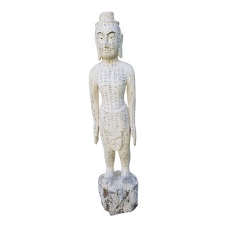 Hand Carved 40 Inch Acupuncture Statue For Sale