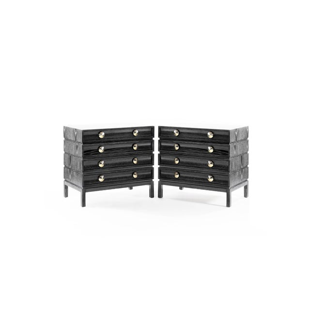 Asian Black Ceruse Stacked Bedside Tables - a Pair For Sale - Image 3 of 11
